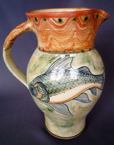 Adrian Brough decorative St Ives ceramic Fish Jug